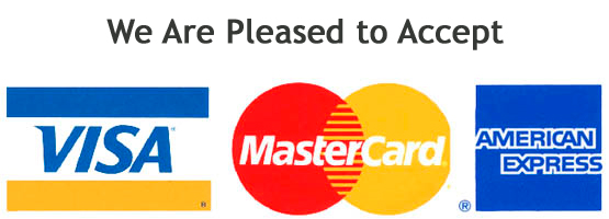 We are pleased accept Visa, Mastercard and American Express.